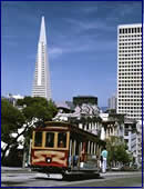 Downtown San Francisco and Cable Car