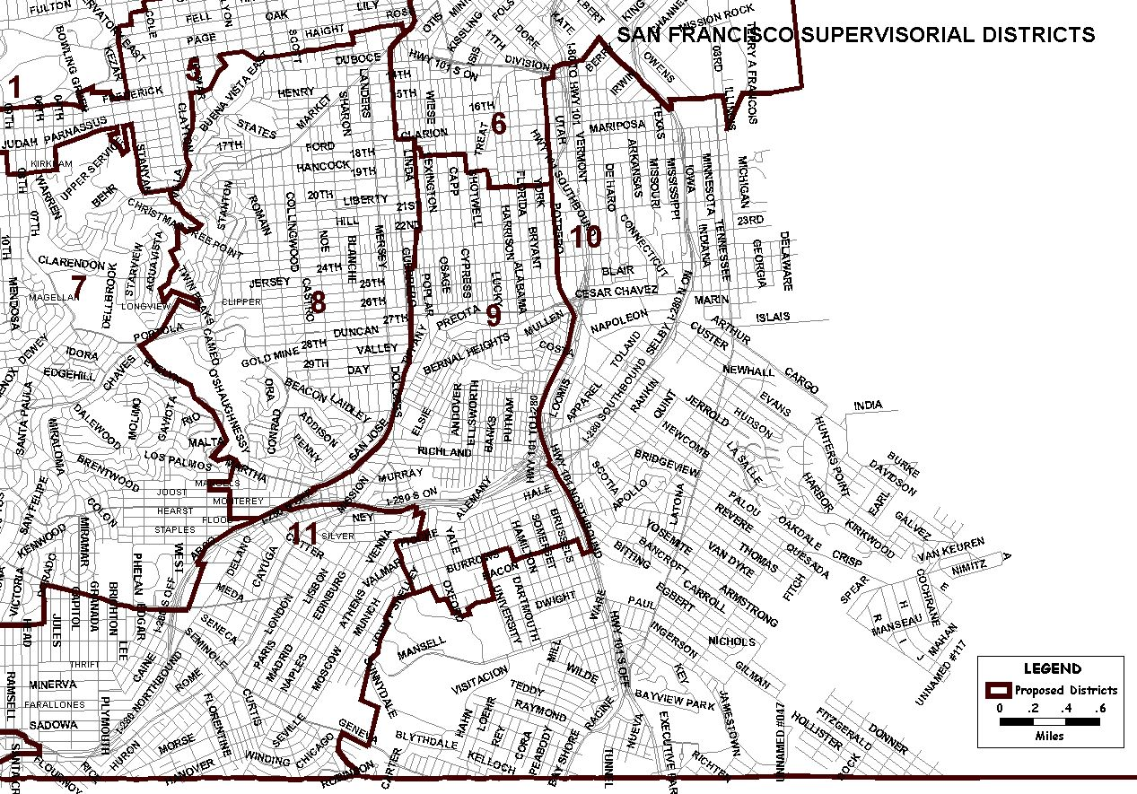 New San Francisco Supervisorial District Map | SF GSA San Go City Council District Map on city of seattle boundary map, city of baltimore maryland map, city map of pittsburgh before consolidation, city of council bluffs map, city line map of los angeles,