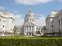 A view of San Francisco City Hall with the Court Yard shrubs in view