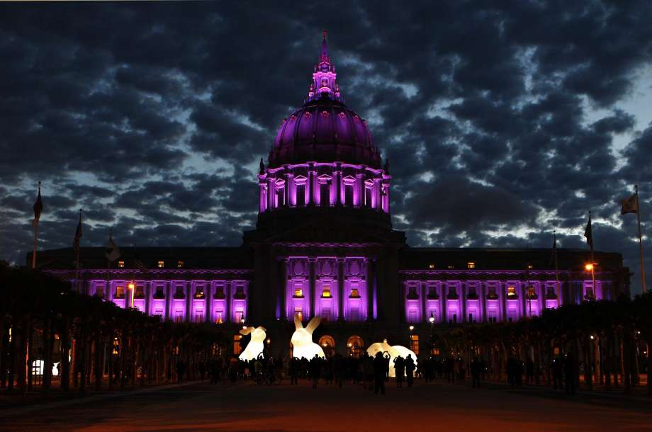 San Francisco City Hall Exterior Night Lighting - Purple - In Memory of Prince