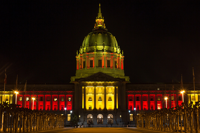 San Francisco City Hall Exterior Night Lighting - Red Gold - Go Niners!