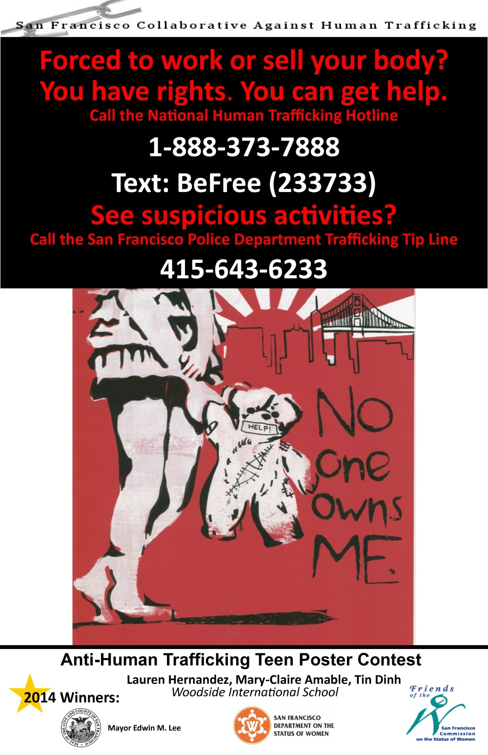 SFCAHT Anti-Human Trafficking Teen Poster 2014
