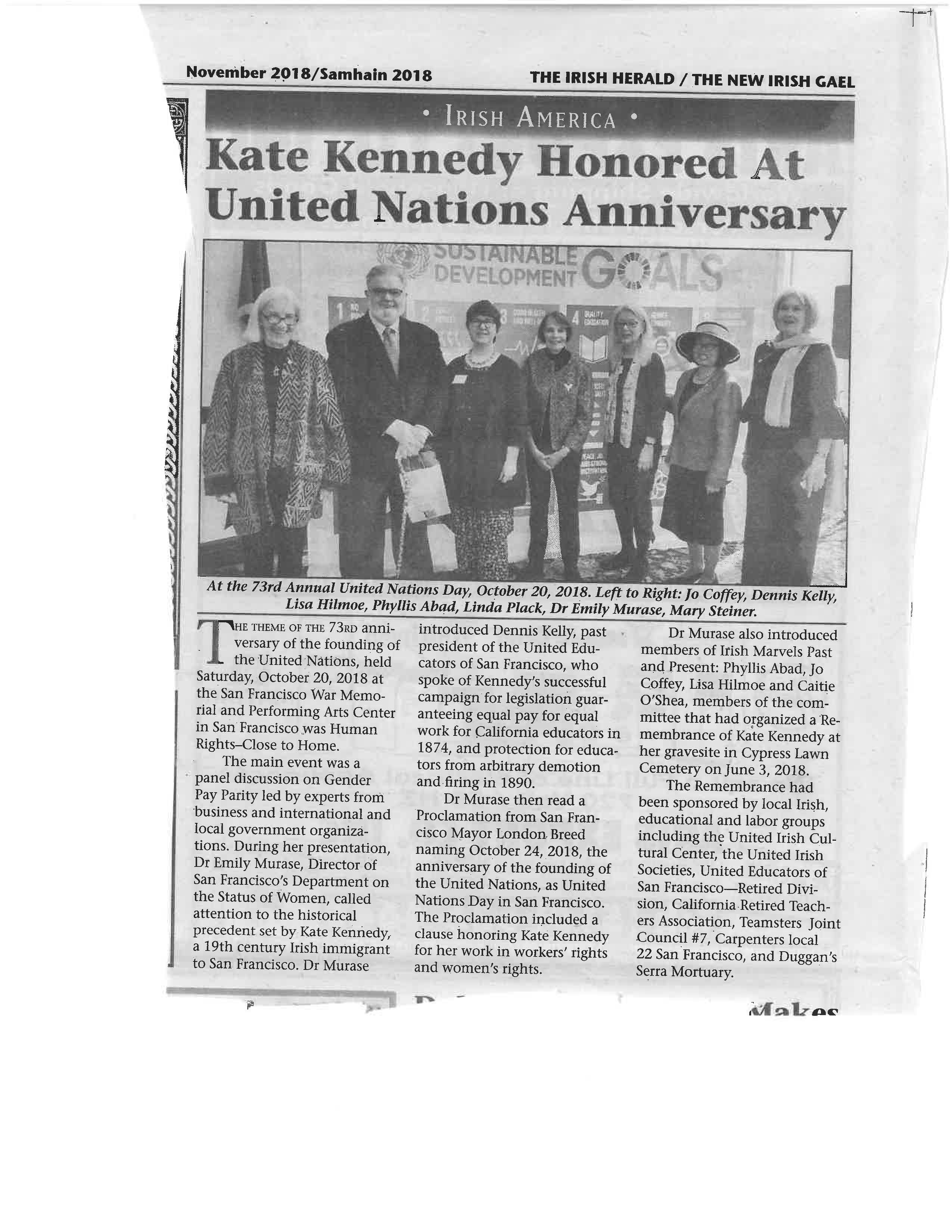 News Article regarding Kate Kennedy honored by UN in November 2019