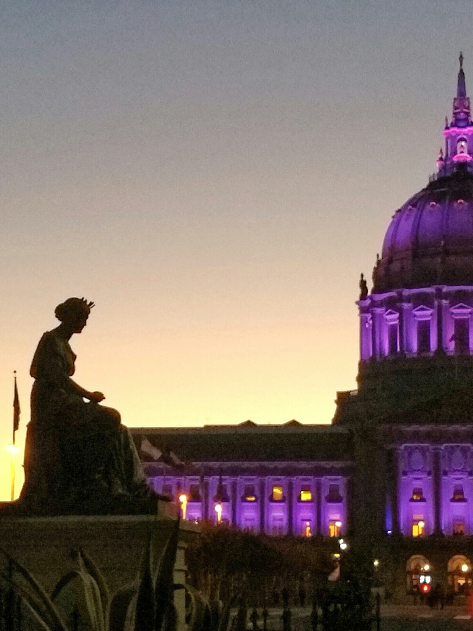 City Hall lit purple for DV Awareness month