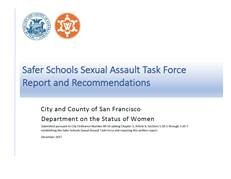 Report Cover of the Safer Schools Sexual Assault Task Force Report