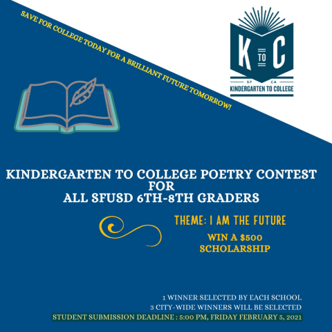 Kindergarten to College 6th-8th Grade Poetry Contest 2020-2021