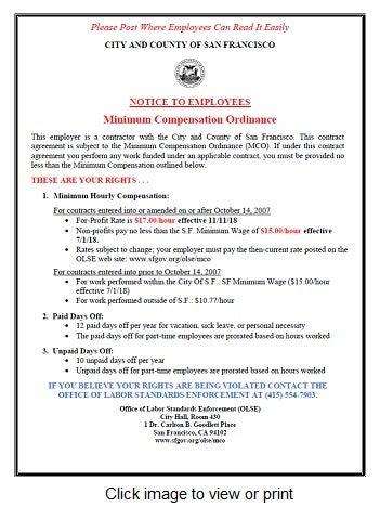 Minimum Compensation Ordinance Office Of Labor Standards Enforcement