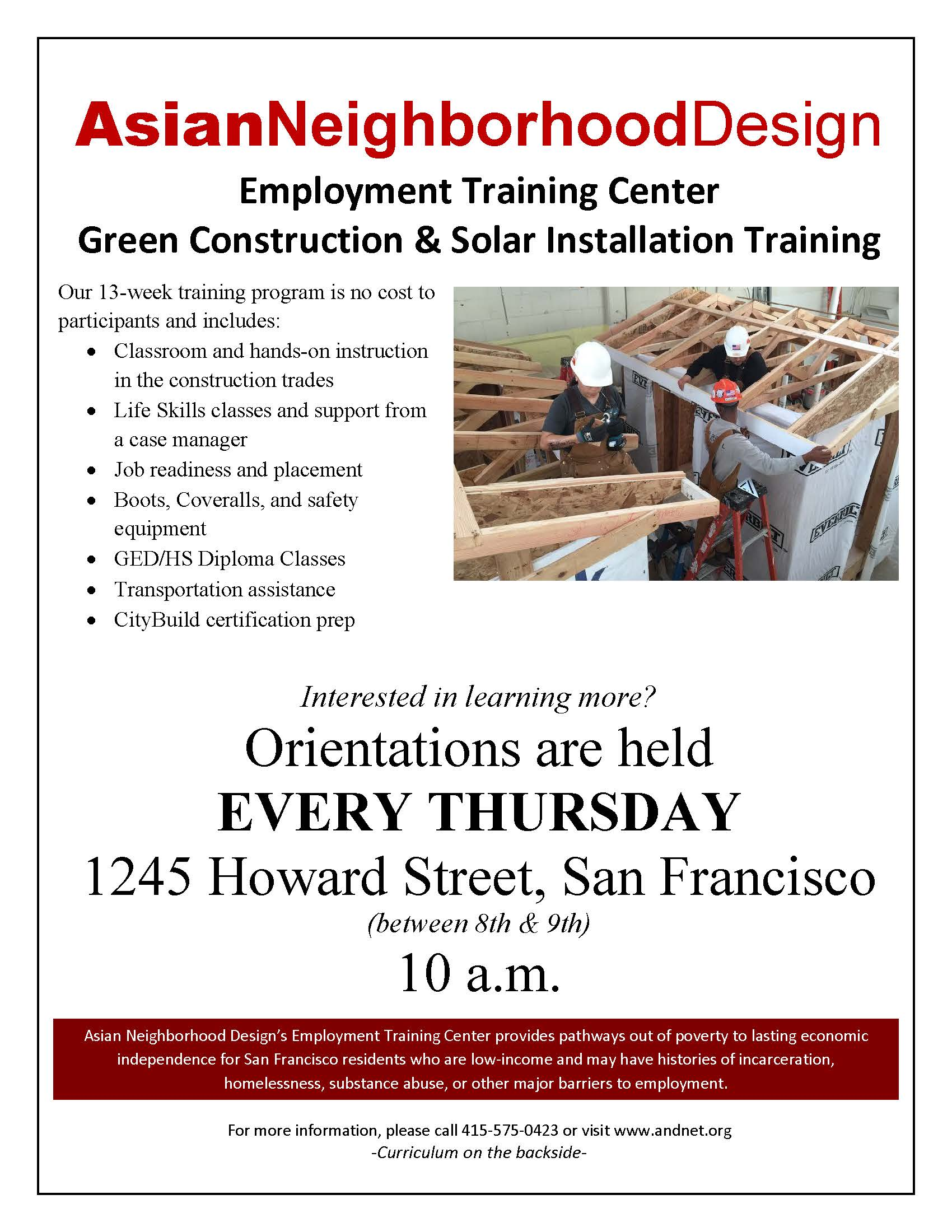 Asian Neighborhood Design Employment Training Center flyer