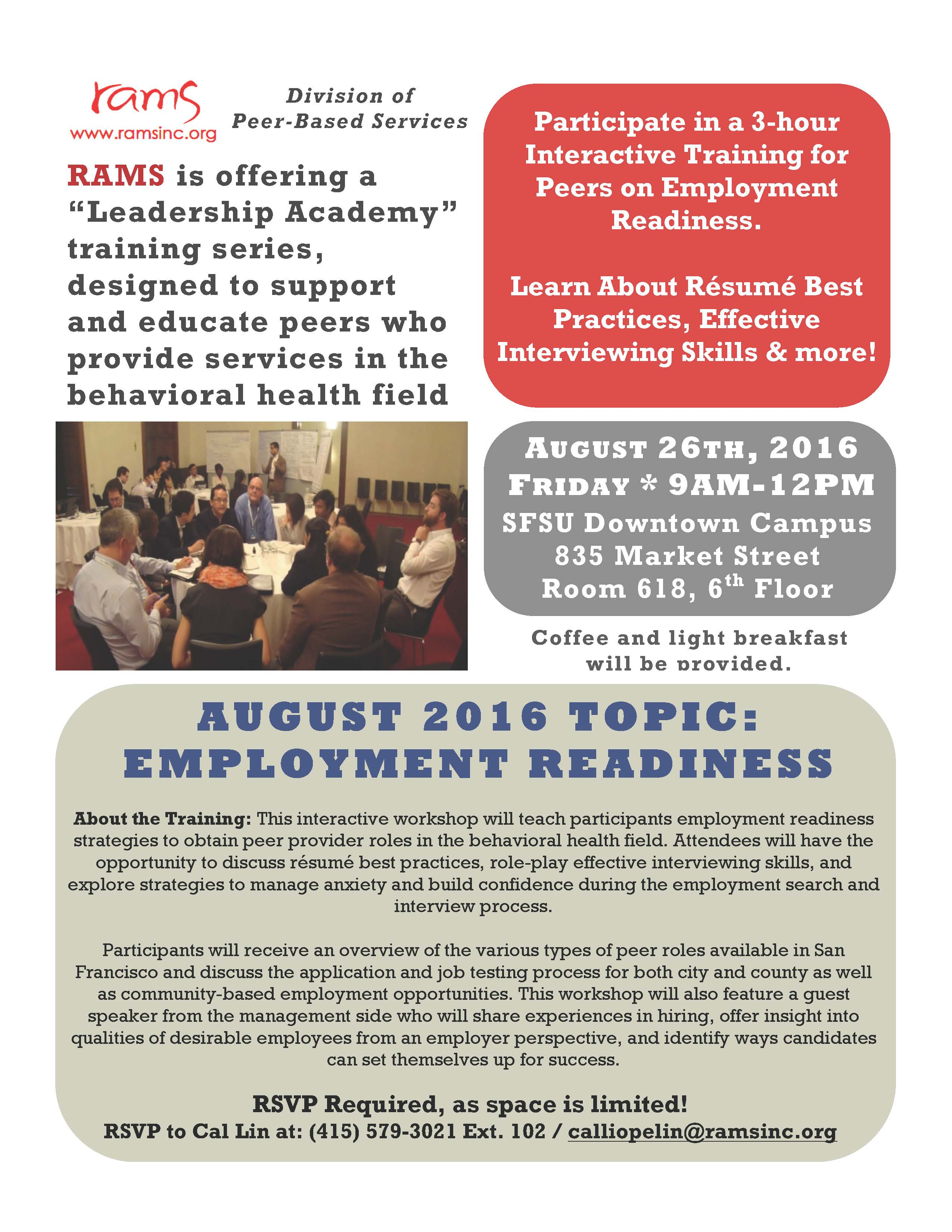 RAMS August 2016 Leadership Academy: Employment Readiness ...